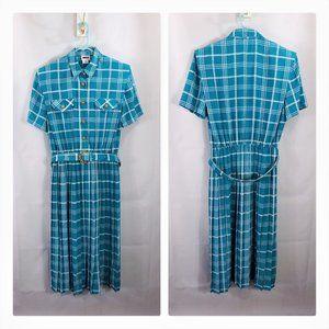 Vintage 80's Leslie Fay dress plaid pleated belt